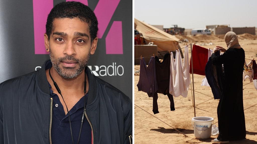 Skådespelaren Alexander Karim besökte Jordaniens största flyktingläger Zaatari.