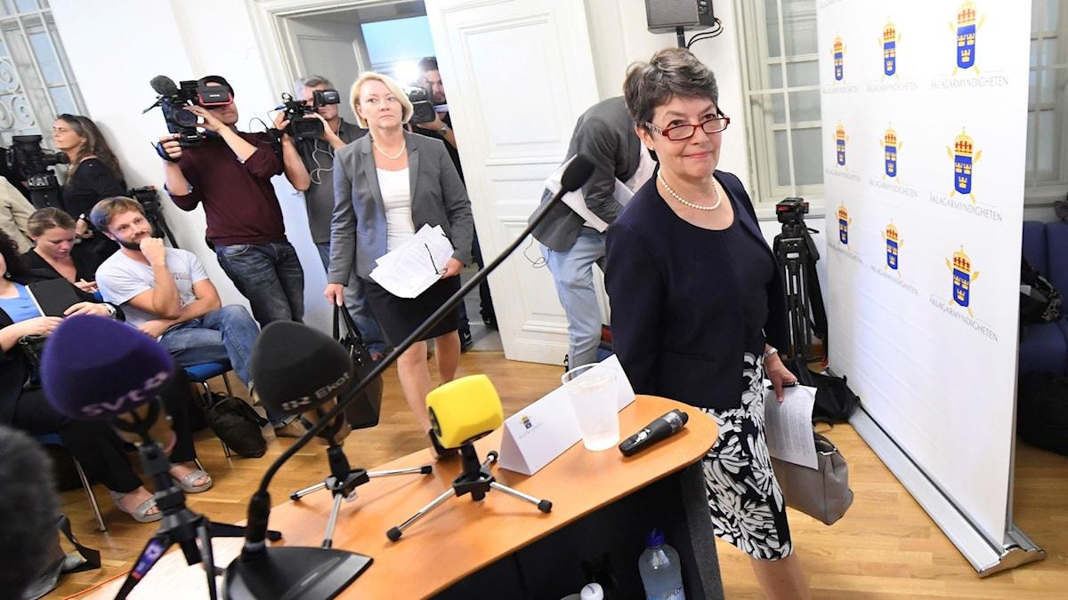 Prosecutor Marianne Ny held a rare press conference on the Assange case. Photo: Fredrik Sandberg/TT