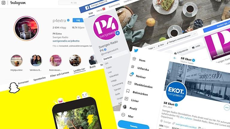 Sociala medier-kollage