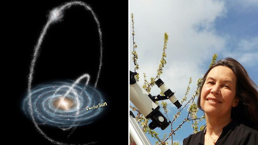 Maria Sundin och en bild på stjärnströmmar runt Vintergatan.
