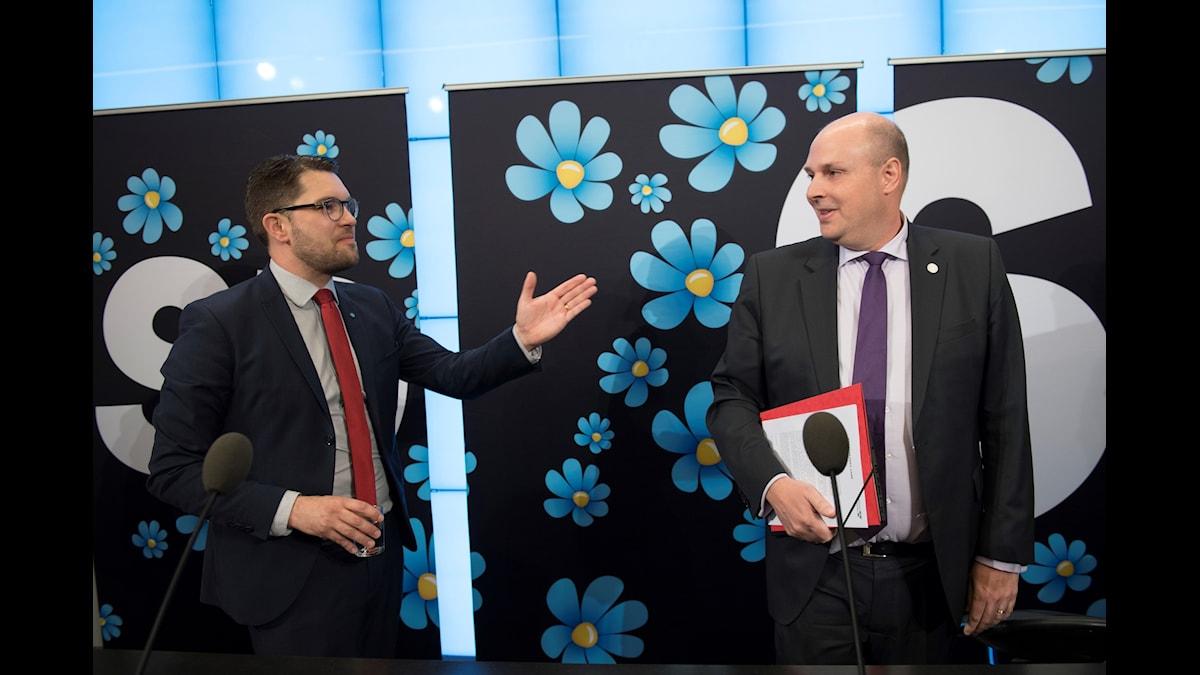 Sverigedemokraternas partiledare Jimmie Åkesson och Patrick Reslowunder en pressträff i Riksdagens presscenter i Stockholm.