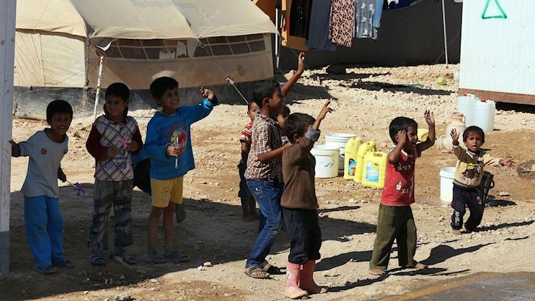 Barn i flyktinglägret Zaatari, Jordanien