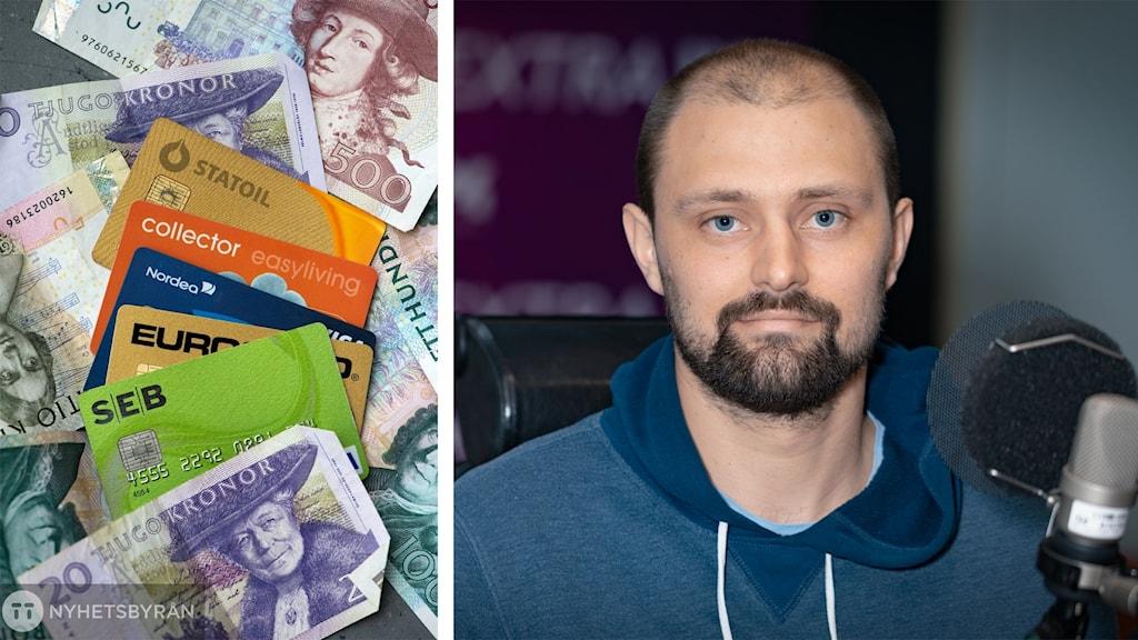 Rickard Carlsson och bild på kort och kontanter