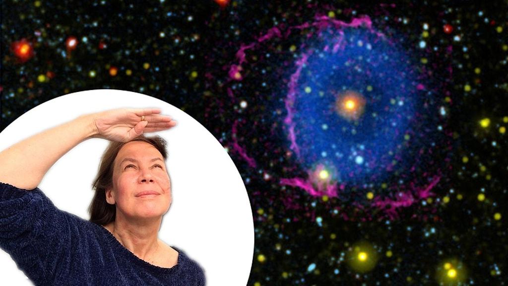 Rymd-Maria blickar upp mot skyarna. En bild på kolliderande stjärnor som avger ett blått ljussken runt omkring sig.