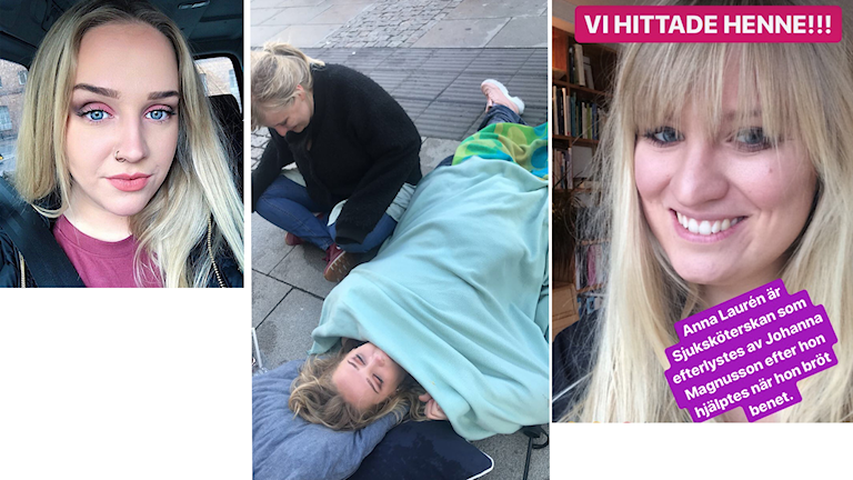 Johanna Magnusson och Anna Lauren. Även en bild från olyckan.