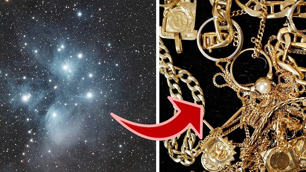 En bild på en stjärnhop och en annan på massa smycken på ett bord.