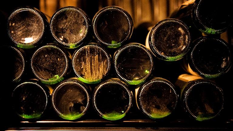 Flera vinflaskor som lagras