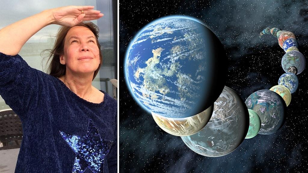 Maria Sundin och en rad exoplaneter