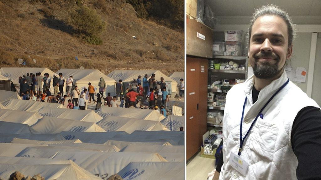 Flyktingar vid tält och läkaren Andreas Fransson