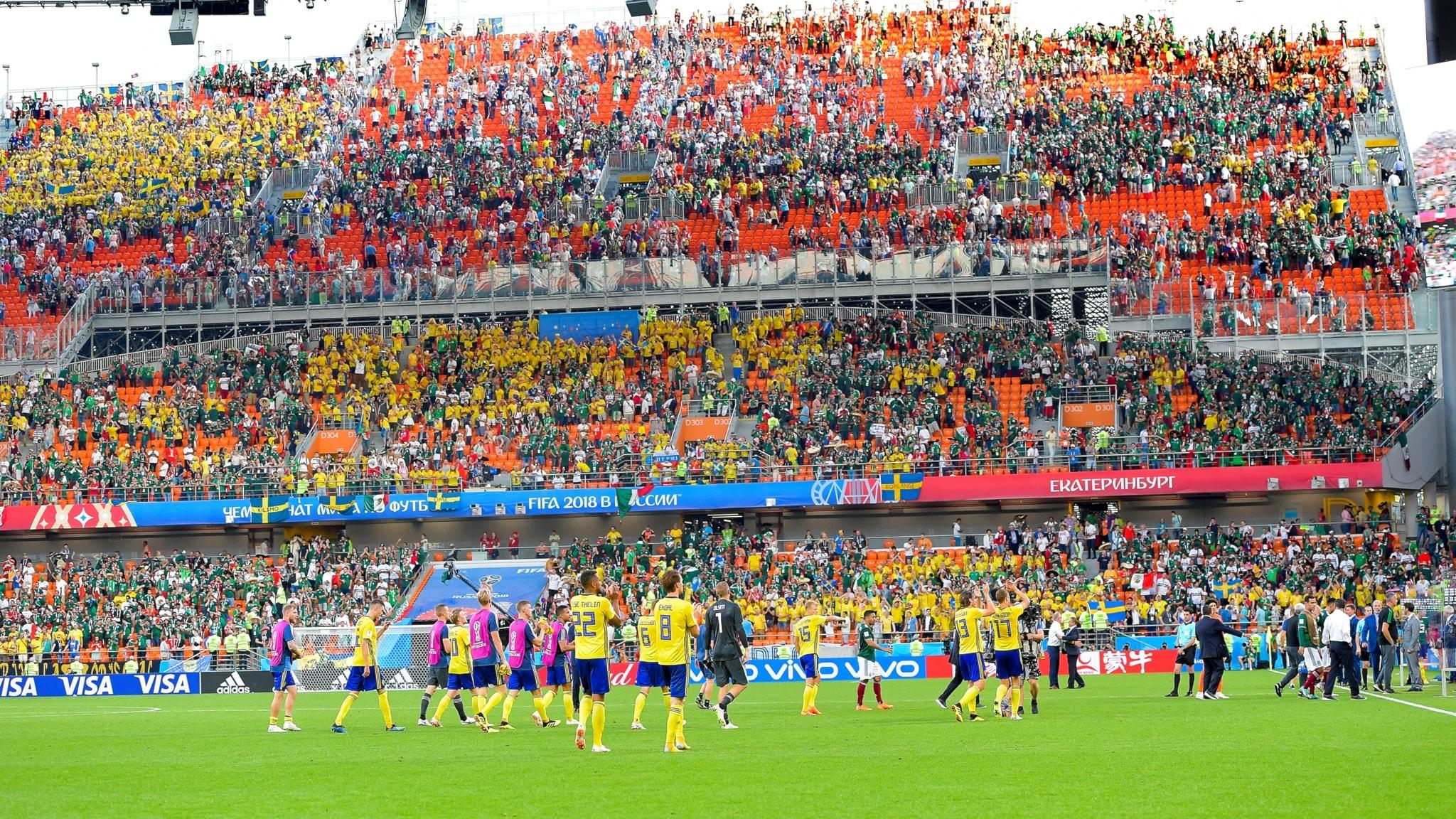 Det svenska landslaget på plan tackar av den svenska publiken.