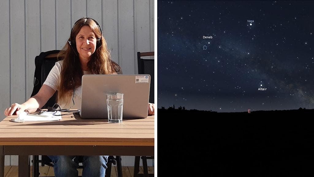 Astrofysikern Maria Sundin och en bild på sommartriangeln bestående av stjärnorna Vega, Deneb och Altair.