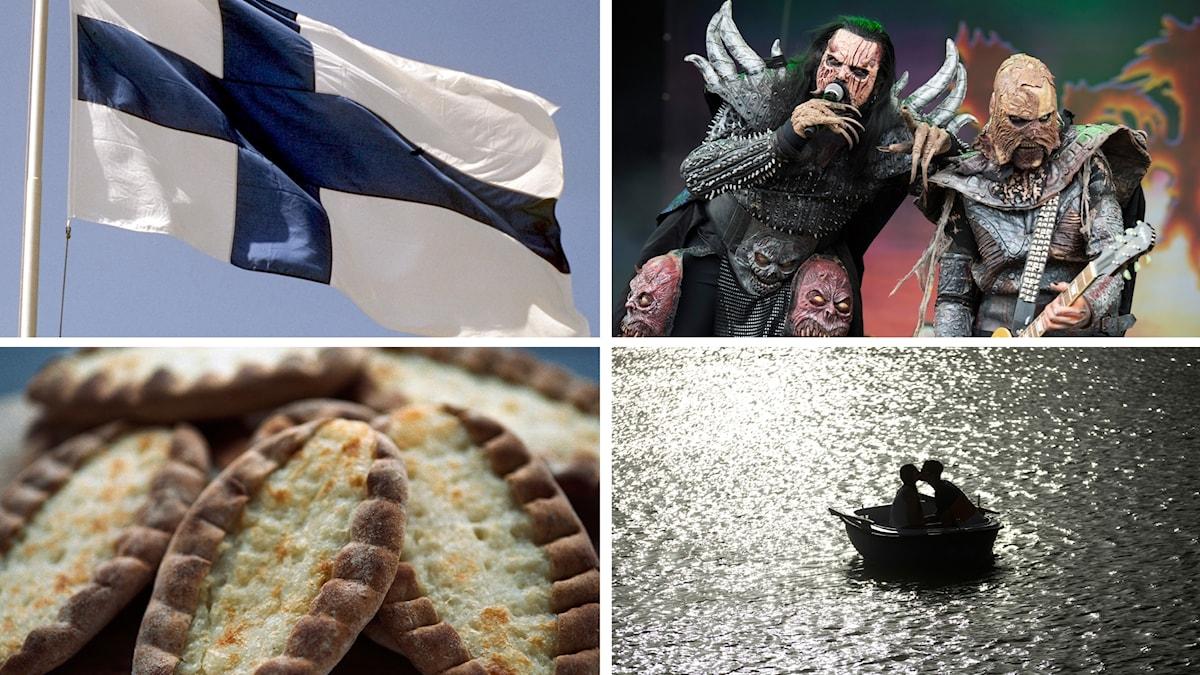 Finska flagggan, Lordi, piroger, och sjöar.
