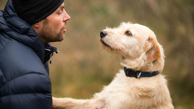 Mikael Lindnord och hunden Arthur.