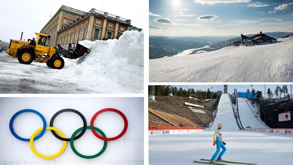 Fotokollage på olympiska ringar, snö utanför slottet i Stockholm, backhoppare i Falun och vy över Åre.