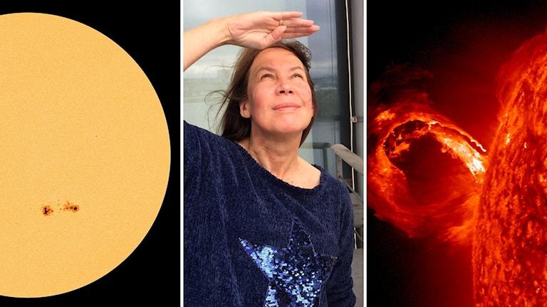 Maria Sundin och två bilder av solen med olika mycket fläckar.
