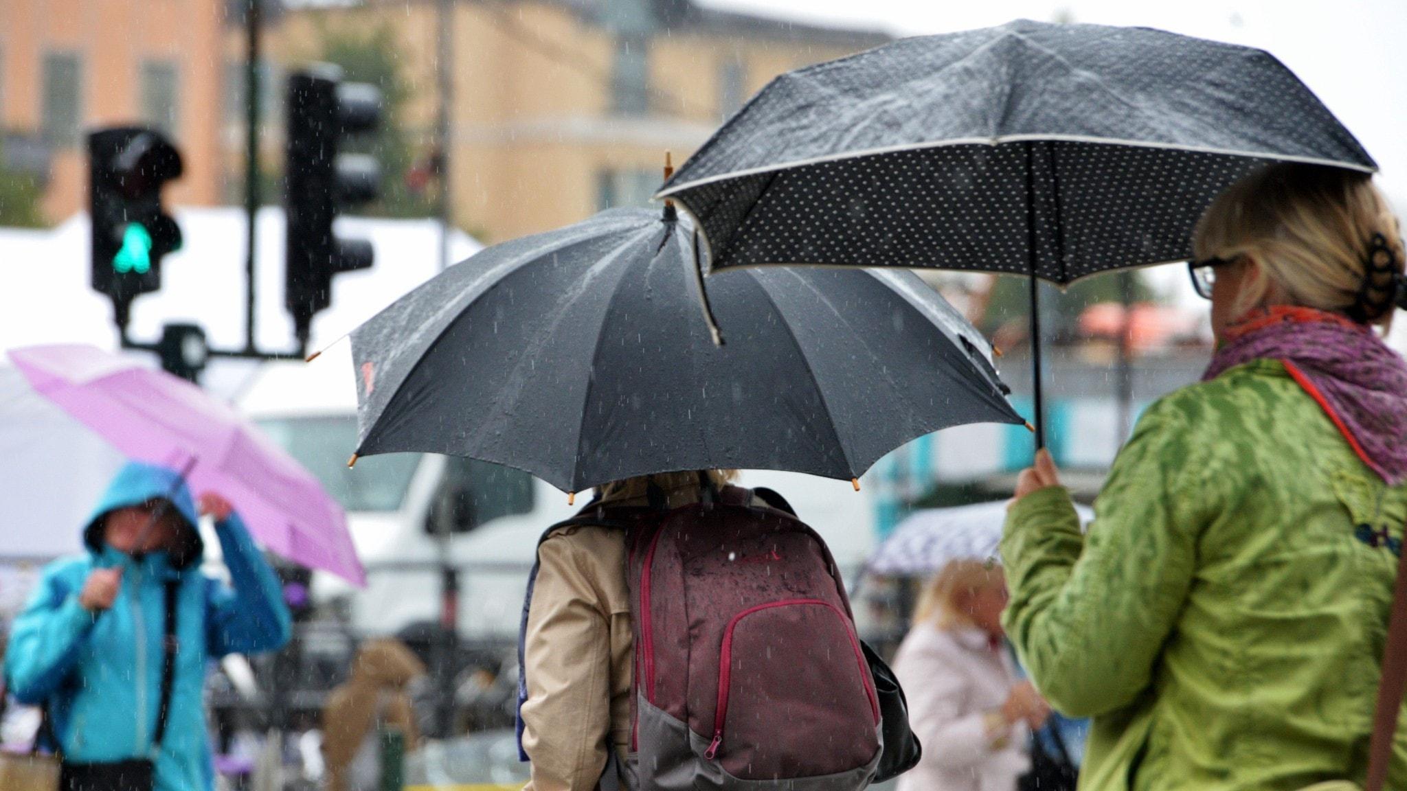 Människor med paraplyer