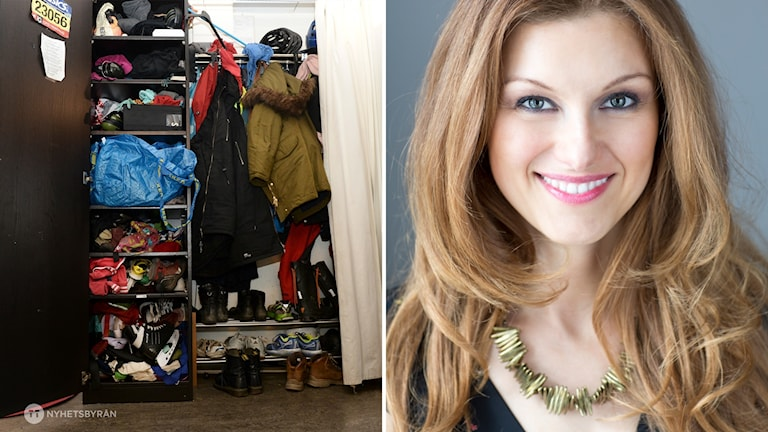 Halva bilden av en hall full med sorterade kläder och andra halvan en leende kvinna.