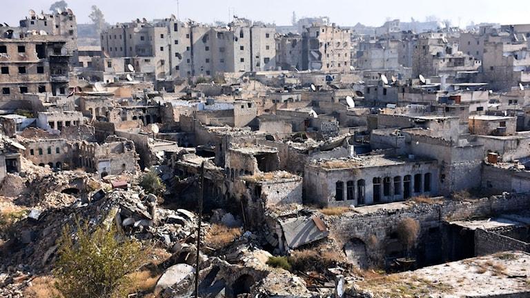 Förstörda byggnader i Aleppo
