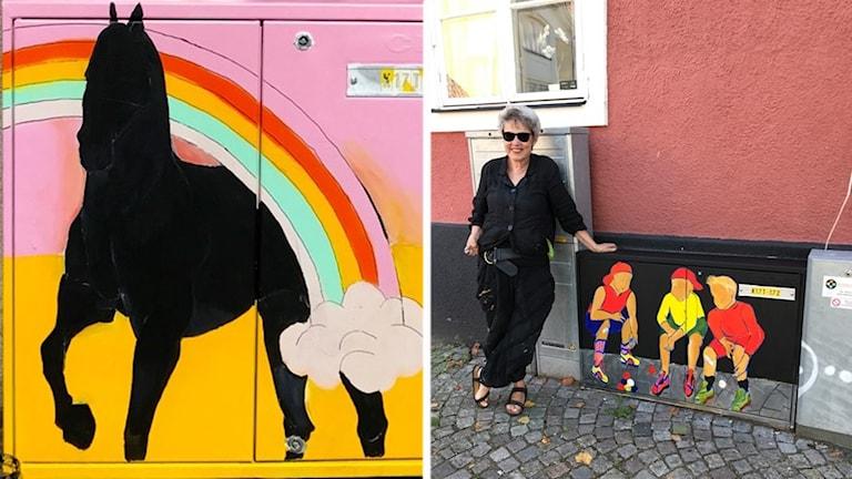 Ann Margrete Clarén är en av konstnärerna som målar om Simrishamns elskåp. Skåpet med hästen har hon gjort tillsammans med kollegan Karin Palola,