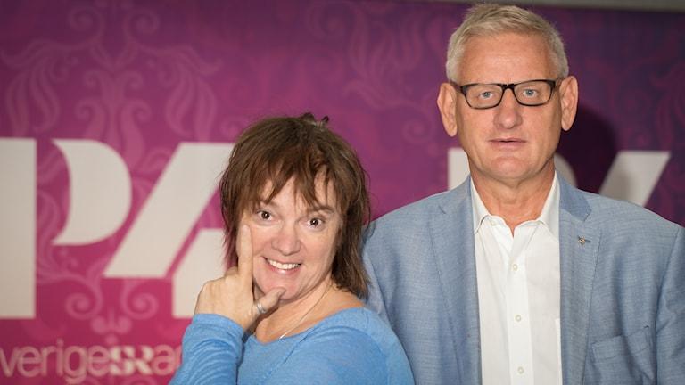 Lotta Bromé och Carl Bildt. Foto: Åsa Stöckel/Sveriges Radio