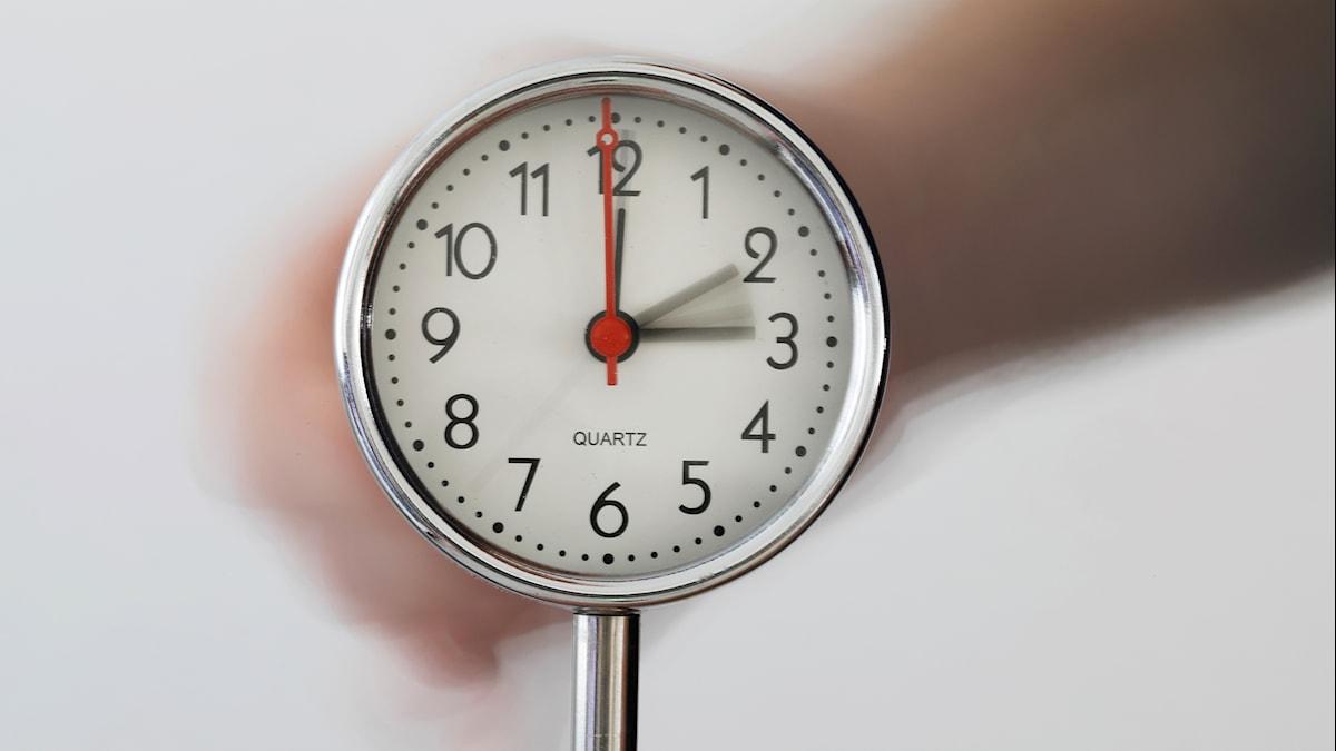 Klocka med visare som rör sig mellan 2 och 3.