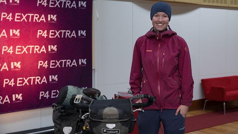 Fredrika Ek och hennes cykel