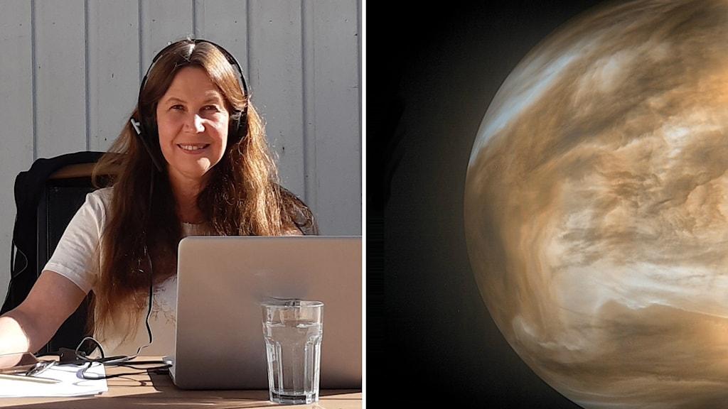 Astrofysiker Maria Sundin och en närbild på planeten Venus