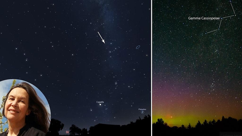 Maria Sundin och stjärnhimlen med Cassiopeia i centrum.