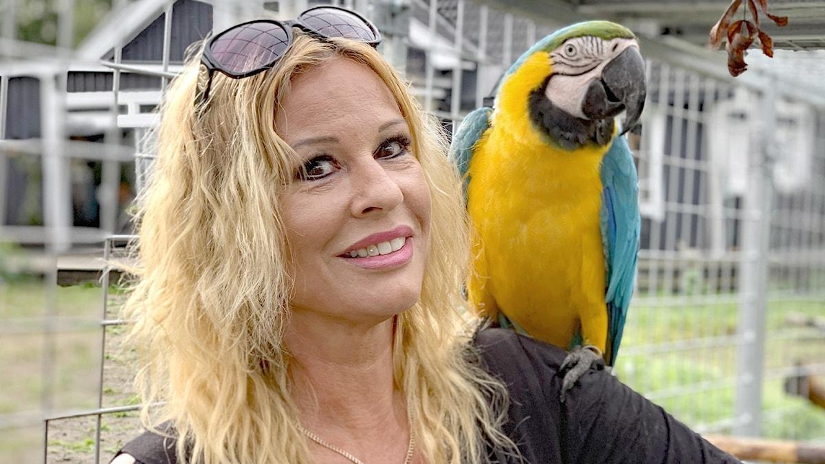 Mia Wängestam och papegojan Charlie. Foto: Gustav Jacobson/Sveriges Radio.