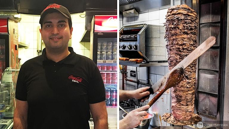 Bildkollage. Till vänster man med keps och svart t-shirt som står inne på ett kebabställe. Till höger bild på händer som skär bort kebab från ett kebabhjul.