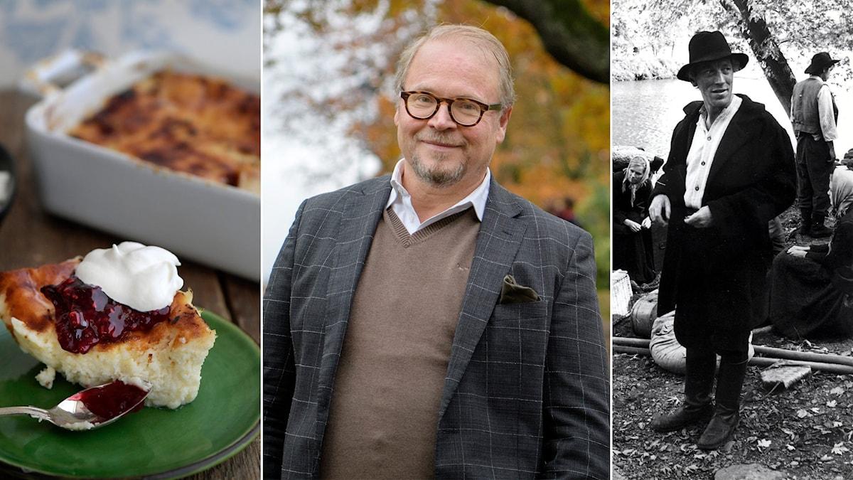 En ostkaka, fredrik lindström och max von sydow som karl-oskar i utvandrarna.