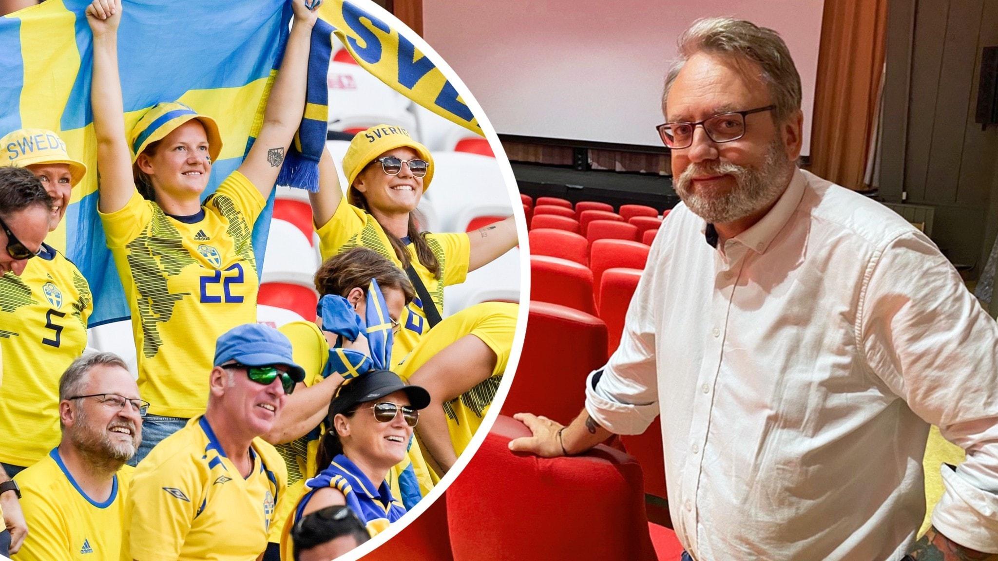 Svenska fans på läktare, en man i en biograf