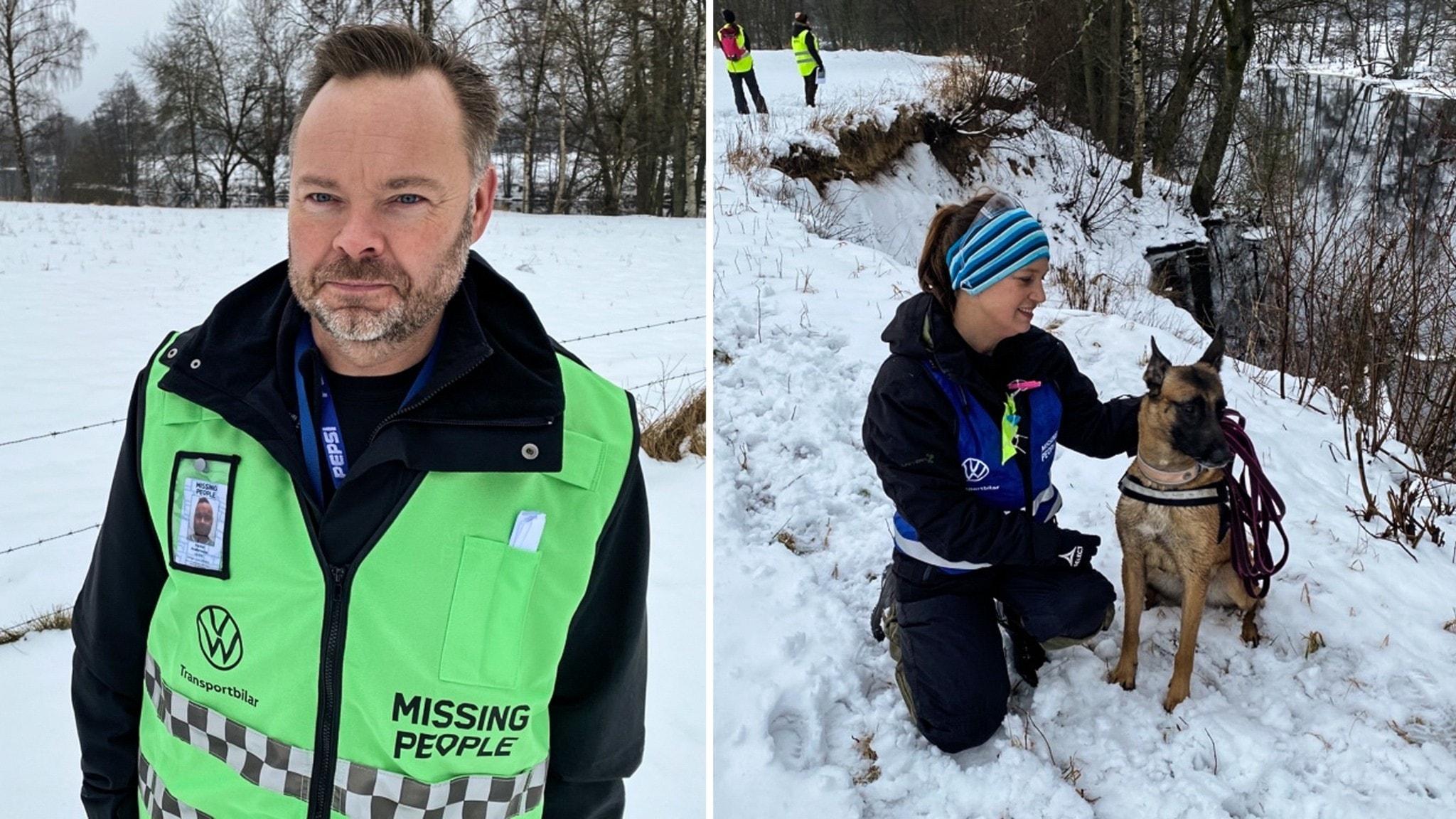 Operativa chefen Daniel Andersson och hundföraren Linda Nilsson med sin hund Cutie.