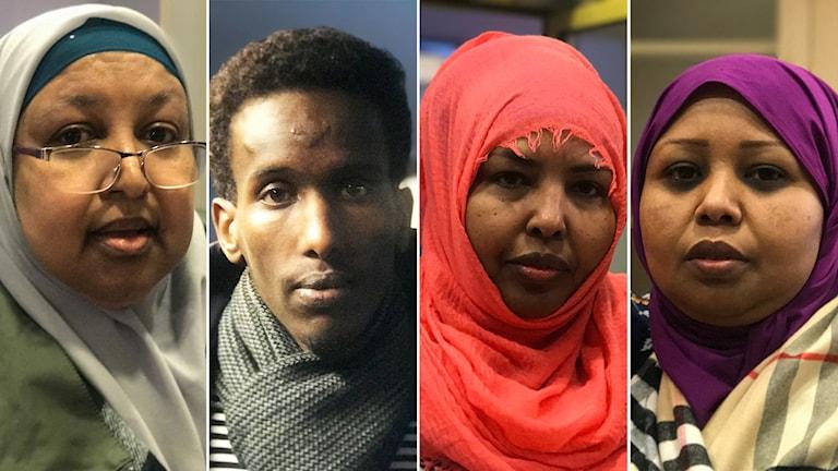 Saciida Munye, Mohamed Nuur, Nasra Ismaaciil iyo Faduma Cigaal.