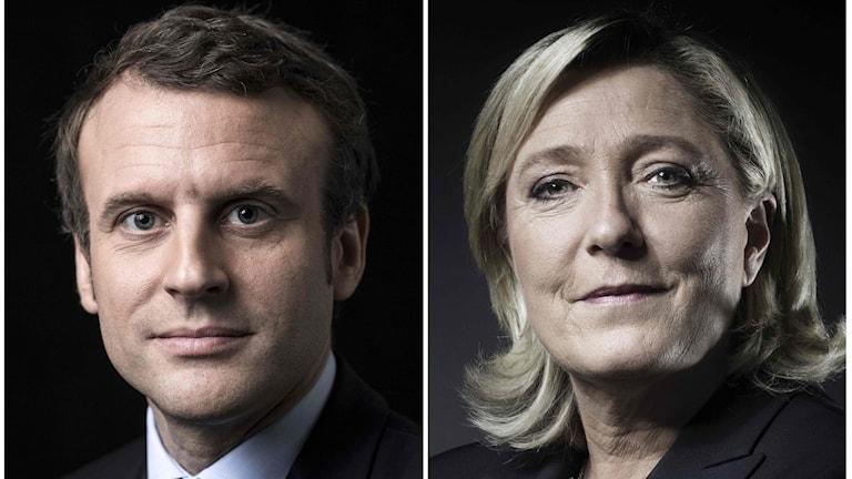 Emmanuel Macron iyo Marine Le Pen.