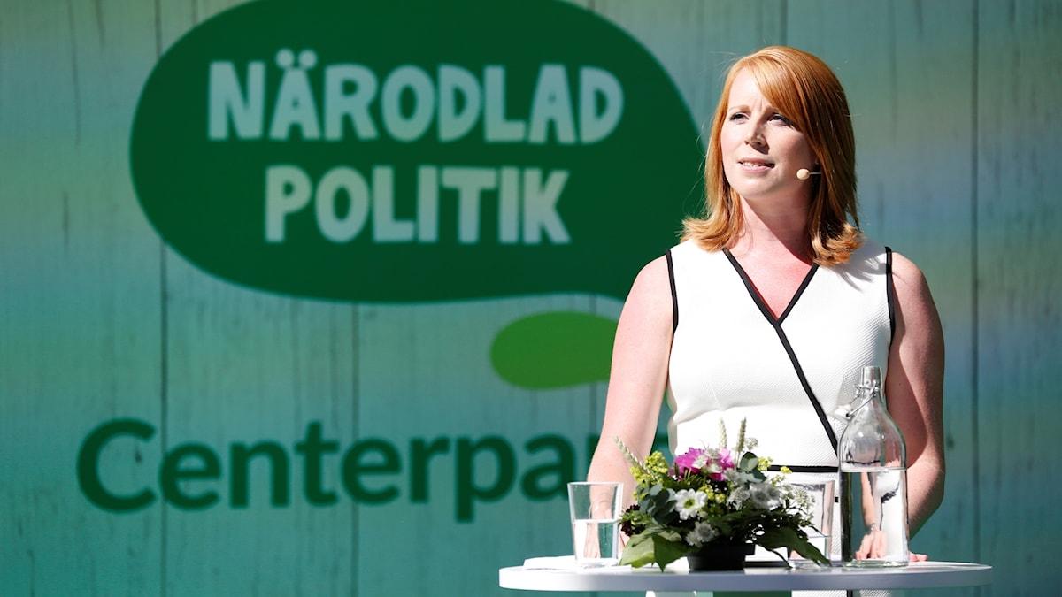 enterpartiets partiledare Annie Lööf vid sitt sommartal på Långholmen i Stockholm på onsdagen