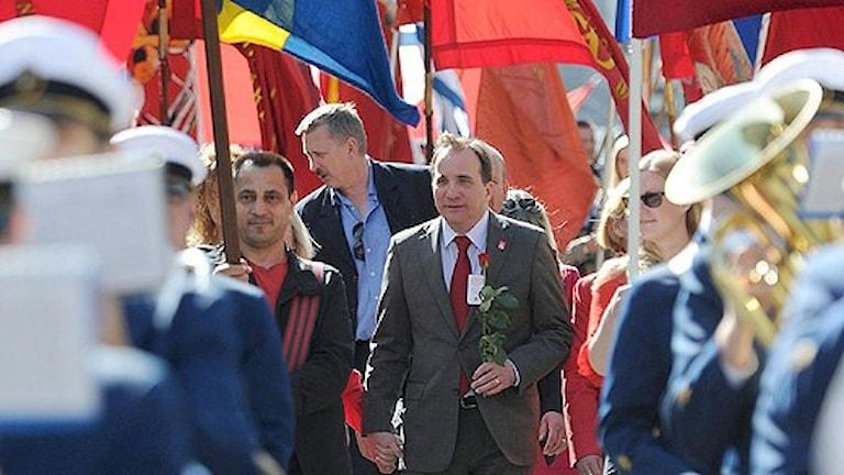 S-ledaren Stefan Löfven tågade och talade i Göteborg på första maj. Foto: Adam Ihse/Scanpix.