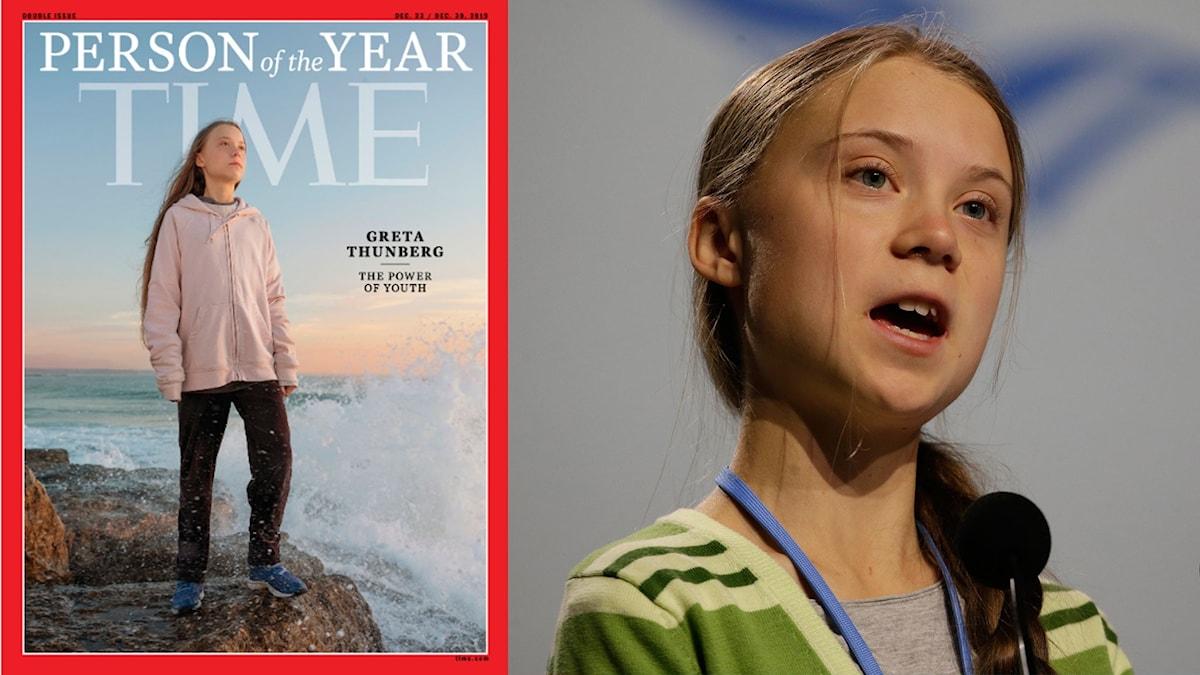 Greta Thunberg på Times omslag och Greta Thunberg.