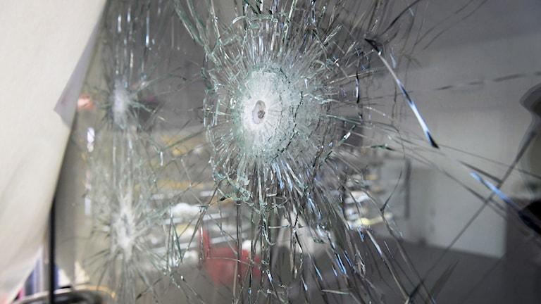 Skotthål i ett fönster i det kafé i förorten Rinkeby i nordvästra Stockholm där två personer sköts till döds