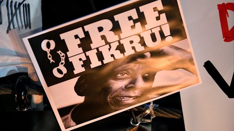 En manifestation för frigivandet av läkaren Fikru Maru anordnades i Humlegården i Stockholm på onsdagskvällen.