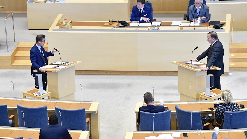 Moderaternas partiledare Ulf Kristersson (M) och Socialdemokraternas partiledare Stefan Löfven (S)