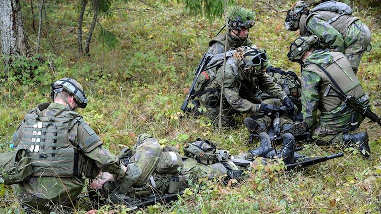 Finska förband övar taktiskt omhändertagande av stridsskadad under en samövning mellan finska och svenska trupper på Tofta skjutfält  på Gotland