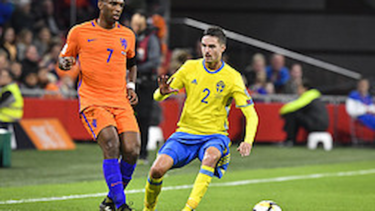 Nederländerna och Sverige på Amsterdam Arena. Foto: Jonas Ekströmer / TT /