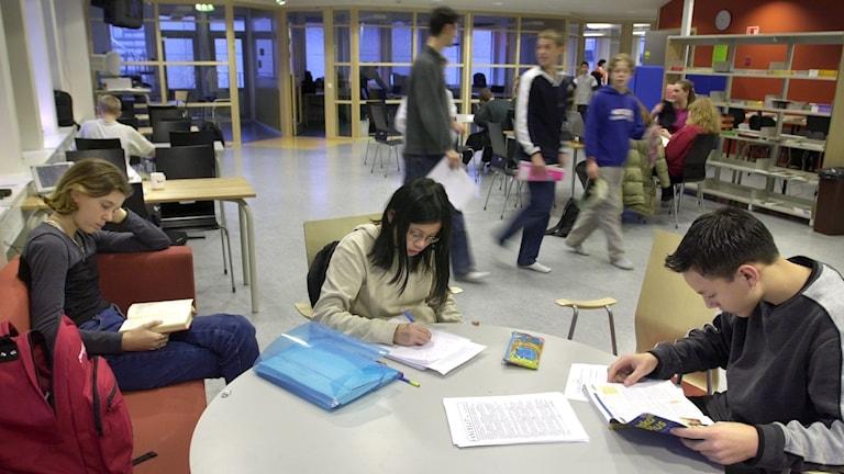 unskapsskolan, Skärholmen. Bilden: Läxläsning eller grupparbete i korridoren. Andra ungdomar går i bakgrunden samt sitter i grupper