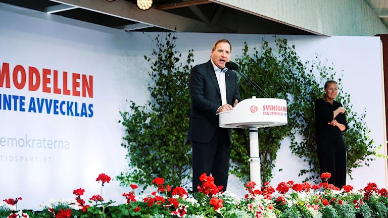 Statsminister Stefan Löfven håller sommartal i Eskilstuna under söndagen
