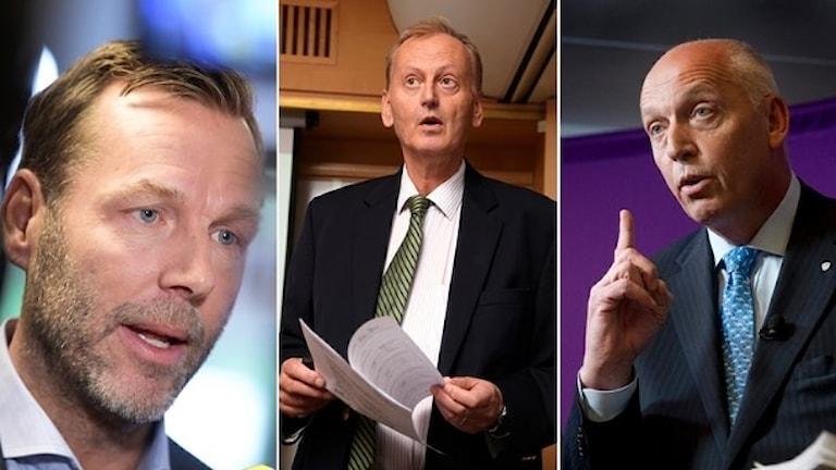 Johan Dennelind (t.v.) nuvarande vd för Telia, överåklagare Gunnar Stetler (mitten) och Telias tidigare vd Lars Nyberg (t.h.). Foto: TT