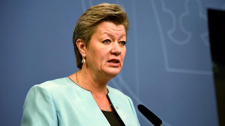 Ylva Johansson, arbetsmarknadsminister,  (S) presenterar nya åtgärder för Arbetsförmedlingen, under en pressträff i Rosenbad i Stockholm.