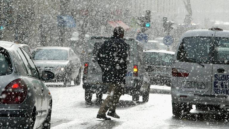 Snöoväder över Stockholm.