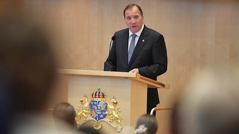 Statsminister Stefan Löfven (S) håller regeringsförklaringen i plenisalen i riksdagshuset vid riksmötets öppnande.