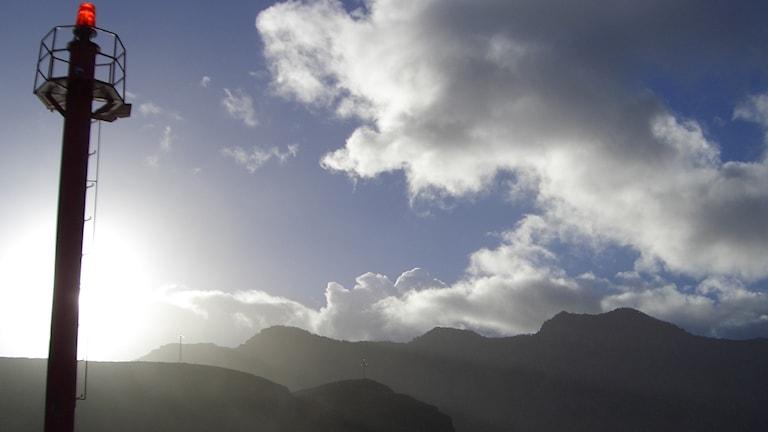 Bild på fyr i den lilla byn Agaete, på norra Gran Canaria